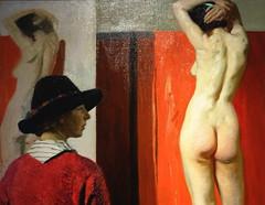 For sitting on (Snapshooter46) Tags: oilpainting nationalportraitgallery london damelauraknight artist nude woman hat ellalouisenaper model selfportraitofartist detail canvas