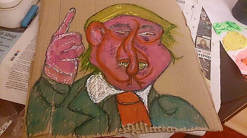 Donald trump 8/11/2016 acrylic, highlighter, tipex pen and pen on cardboard #portrait #comedy #donaldtrump #surrealism #trump #politics #uselection #character #cartoon #instagood #illustration #celebrity #artgallery #artoftheday #artoninstagram #modernart