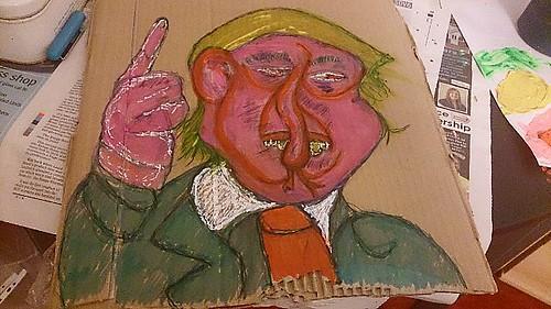 Donald trump 8/11/2016 acrylic, highlighter, tipex pen and pen on cardboard #portrait #comedy #donaldtrump #surrealism #trump #politics #uselection #character #cartoon #instagood #illustration #celebrity #artgallery #artoftheday #artoninstagram #modernart