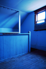 True Blue (Wєirdlig) Tags: abandoned exploring exploration urbex rurex decay asbestos creepy abstract eclectic vacant photography destroyed urban ruins trespass trespassing haunted desolate architecture building house home colorado indoor interior blue bluehour attic staircase indigo violet planks boards