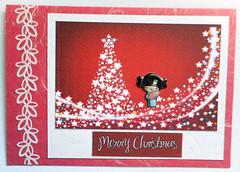 Christmas card 8_2016 (tengds) Tags: christmascard card handmadecard red christmastree white japanesegirl blue fan pink stars papercraft tengds