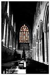 Heavens Light (DeeGee1966) Tags: cumbria fujifinepixs3300 hexham abbey stainedglass selectivecolour colourpop