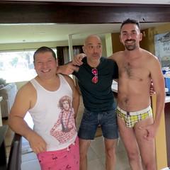 IMG_9948 (danimaniacs) Tags: party shirtless man guy hot tanktop smile beard scruff swimsuit bulge trunks