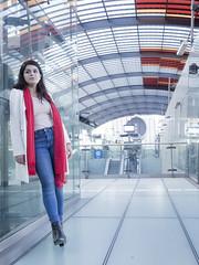 Nathalie, Amsterdam 2016: Light and space (mdiepraam (35 mln views)) Tags: nathalie amsterdam 2016 centraal station platform portrait busterminal pretty beautiful elegant dutch brunette girl naturalglamour scarf denim jeans boots