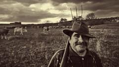 (corvo_torvo) Tags: portrait ritratto ritrattoinbw transumanza volti seppia forcone mucche muccapodolica baffi