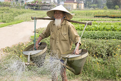 Farmer in Hoi An, Vietnam (Luke 182) Tags: travel vacation portrait water vegetables garden farm vietnam hoian farmer ancientcity centralvietnam canon5dmarkiii f28liiusm