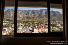 View of Cape Town and Table Mountain from our room in the Garden's Centre, Cape Town