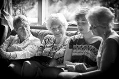 End of Year Show-off, 2015 04 (ArdieBeaPhotography) Tags: blackandwhite girl monochrome reading women sitting young teen together older nana presentation trio
