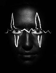 Heartbeat (mdrentlaw) Tags: portrait white black face lines dark paint highlights line facepaint highlight heartbeat