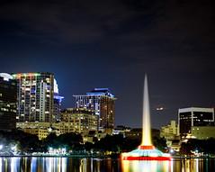 Lake Eola (jeffk42) Tags: city longexposure urban color 120 film fountain night mediumformat downtown cityscape 6x7 filmisnotdead mamiyarz67proii kodakektar100 mamiyasekor180mmf45