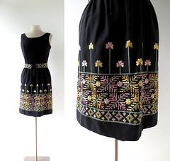 1960s Zagreb Gardens embroidered floral dress, from Vicky Vaughn (Small Earth Vintage) Tags: smallearthvintage vintagefashion vintageclothing dress 1960s 60s black embroidered folklore folkloric vickyvaughn floral