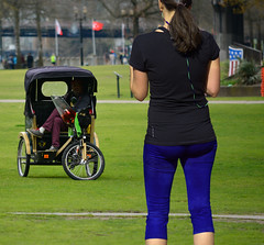 Parked In The Park (swong95765) Tags: taxi cab bicycle park woman female lady athletic