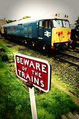 Beware of the trains (Rich007) Tags: yellow nenevalleyrailway 50 class50 hoover wansford station diesel locomotive dieselelectric loco engine train trains railway preserved britishrail blue peterborough warning cambs cambridgeshire