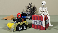 Red Skull and the skeleton (Busted.Knuckles) Tags: home toys lego minecraft redskull dynamite miniature skeleton olympusomdm10mkii dxoopticspro11