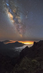 Flying through Clouds (Perez Alonso Photography) Tags: milkyway roquedelosmuchachos lapalma tenerife canarias islas night nightscape clouds seaclouds mountains valley universe sky galaxy nebula teide light pollution landscape