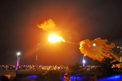 Dragon's breath (Roving I) Tags: dragonbridge dragons fire flames crowds spectacle attractions tourism travel design engineering bridges smoke nightlife danang vietnam