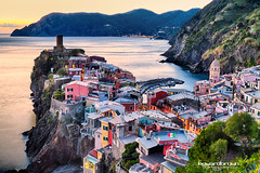Beginning of Night in The Five Lands... (Howard Brown Photographic) Tags: u vernazza cinqueterre cinque terre italy italian riviera hdr long exposure night evening ocean sea seaside light sunset sunrise