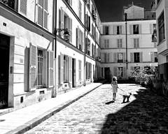 Chienoiseries/The Girl with the Dog (floressas.desesseintes) Tags: paris passagedenfer 14emearrondissement mdchen girl jeunefille hund dog chien sommer summer t streetfotografie schwarzweis idylle
