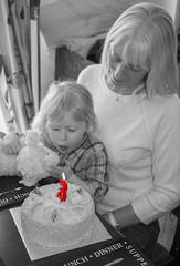 Make a Wish (kellyhackney1) Tags: makeawish wish blowingoutcandles piccy cake three 3 birthday birthdaygirl littlegirl cherub blackandwhite colourpop