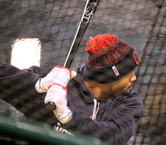 Indians outfielder Coco Crisp takes batting practice during an optional workout at Progressive Field. (apardavila) Tags: postseason wordseries baseball clevelandindians cococrisp majorleaguebaseball mlb progressivefield sports worldseries