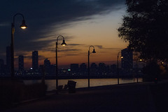 Lights by the lake (jer1961) Tags: toronto marilynbellpark dusk sunset lakeontario humberbay lamps streetlamps