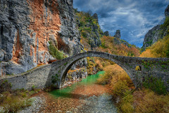 Stone bridge Kokkorou (Dimitil) Tags: bridge traditionalconstruction zagori zagorohoria nature river stonebridge tradition clouds sky fall autumn rocks mountain epirus greece hellas