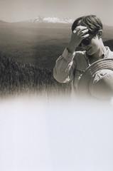 Laura 42, Crescent Mountain 2016 (Sara J. Lynch) Tags: sara j lynch crescent mountain hike black white asahi pentax k1000 35mm film cascades oregon laura three sisters light exposure accident portrait sunglasses hat trees