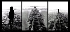 Triptyk-Seaside Solitude (DANTELO12) Tags: triptyque silhouette seaside path blackandwhite noiretblanc monochrome sea mer ocean beach bw artwork