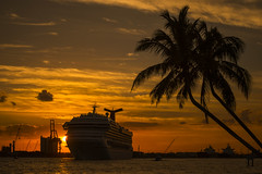 Carnival Conquest, Dreadful light again! (robertjamesstarling) Tags: sunset water river sea cruise ship clouds sky carnival conquest