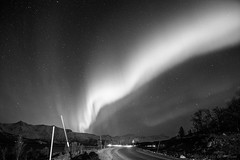 Follow the lights that line the streets (OR_U) Tags: 2016 oru norway svensby troms street monochrome bw blackandwhite blackwhite scharzweiss ryanadams auroraborealis northernlights road mountains night nightphotography
