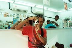 AA026 (Lee Sydney) Tags: olympusmjuii fujicolorc200 bilikbeku 35mmfilm filmisnotdeadinmalaysia filmisnotdeadinpenang penang malaysia georgetown seeninpenang scenesinpenang sliz slizzy julius olympusbuddies same camera photoception mirror reflection indian barber shop basic clean tidy saloon
