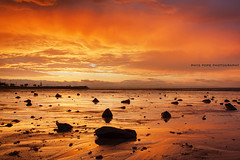 Blazing Skies In Scarborough || QUEENSLAND || AUSTRALIA (rhyspope) Tags: australia aussie cld queensland sunrise sunset sky clouds color colour scarborough reflection sea ocean low tide rhys pope rhyspope canon 5d mkii rocks orange red yellow natue