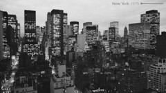 New York - January 10, 1975 (cobravictor) Tags: newyorkcity ny nyc midtownmanhattan manhattanskyline underconstruction 1971 1975 skyscrapers rooftop bw beautiful architecture landscape lights