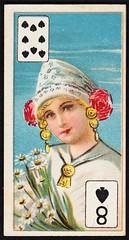 Cigarette Card - 8 of Spades (cigcardpix) Tags: cigarettecards advertising ephemera vintage beauty playingcard