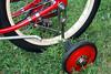 "C08519 (centerprairie) Tags: red 1948 bicycle stand tank wheels balloon ivory tire chrome spitfire brake pedals handlebar horn schwinn coaster juvenile rods 1949 saddle dx truss traing grips bendix 20"""