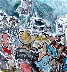 Xander and Spectators (Kerry Niemann) Tags: hitchingpost apachejunction inkandwatercolordrawing