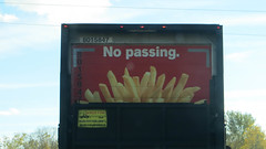 no passing (timp37) Tags: sign truck french illinois october mcdonalds fries 2015