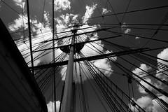 Cutty Sark (Matt-Bruce) Tags: sky blackandwhite monochrome clouds boat ship perspective cuttysark mast