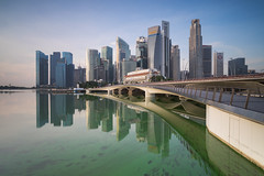 Green Water (bing dun (nitewalk)) Tags: morning bridge green marina sunrise bay singapore jubilee business cbd