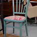 Chair  blue with pink seat style 25.
