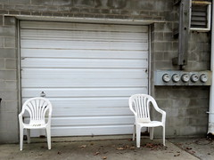 Monochrome alley (yooperann) Tags: park door white electric forest grey alley break chairs furniture garage smoking plastic meters recycler