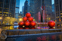 Large Festive ornaments and Radio City Music Hall (Singing With Light) Tags: nyc autumn windows ny festive photography lights december manhattan sony stpatrickscathedral christmaslights displays 12th 5thave 2015 festivelights rockerfellercentre mirrorless sonykitlens sony16mm28 singingwithlight singingwithlightphotography alpha6000 sonya6000 sony24240 lightjj