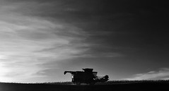 the long hours... (BillsExplorations) Tags: harvest long dark combine monday fall farming farmmachinery clouds sky longhours breakdown agriculture silhouette field