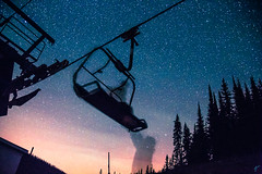 Ghosts on the Gondola (aaronvonhagen) Tags: bigwhite kelowna lexyparks milkyway stars galaxy nightphotography vancouverphotographer canon 5dmarkiii teamcanon adventureisoutthere wanderlust dope ghosts longexposure travel chairlift skiresort okanagan britishcolumbia