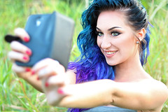 Selfie (Paula Darwinkel) Tags: selfie glamour portrait blue hair woman girl nature outside