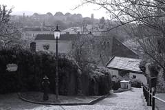 Quiet Village Steps (nascentia) Tags: austria europe danubevalley melk melkabbey abbey blackandwhite lamp street alley village
