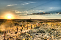 299-366-5 (garyinhere) Tags: fortsupply oklahoma unitedstates hdr sony a99 lake countryside tree fence sunset wave water