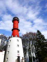 At Polands Northernmost point - the Rozewie Lighthouse (roomman) Tags: 2016 poland north balticsea sea baltic coast władysławowo pomerania light house tower rozewie northernmost point lighthouse red colour sky contrast cloud clouds white