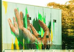 Nature is not Safe in Man's Hand's (Steve Taylor (Photography)) Tags: slippingthroughourfingers hands fingers art graffiti mural streetart newzealand nz southisland canterbury christchurch cbd city