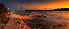 Sunset at Freshwater Pool - Panorama (Simon Pratley) Tags: 24mm 5dmkiii afternoon amigos atardecer australia beach bluehour canon clouds coast cool costa culture dusk freshwaterbeach goldenhour landscape leefilters leegraduatedfiter light longexposure luz manlybeach night northernbeaches nubes ocean orange panorama panoramic picina playa pool rocks seascape simonpratleyphotography sky skyline sunset sydney wave waves elmar lacosta